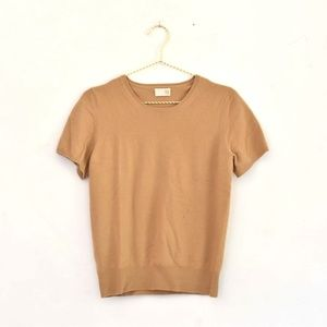 TSE 100% Cashmere Camel Tan Short-Sleeve Sweater